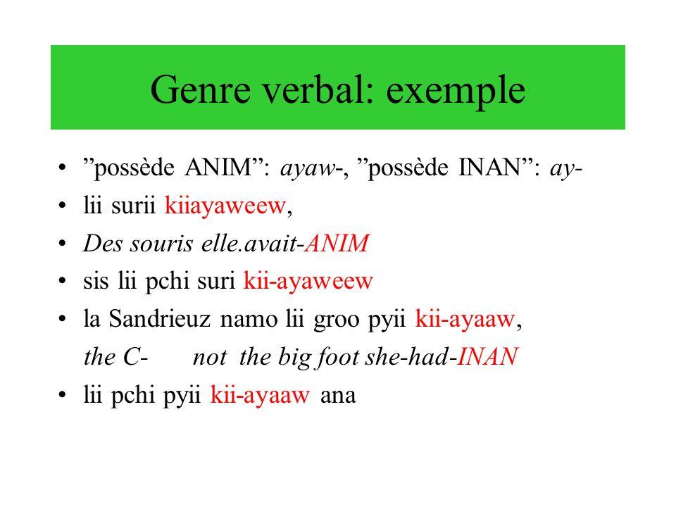 Genre verbal: exemple possède ANIM : ayaw-, possède INAN : ay-