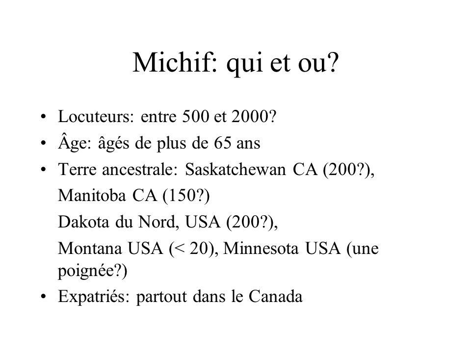 Michif: qui et ou Locuteurs: entre 500 et 2000