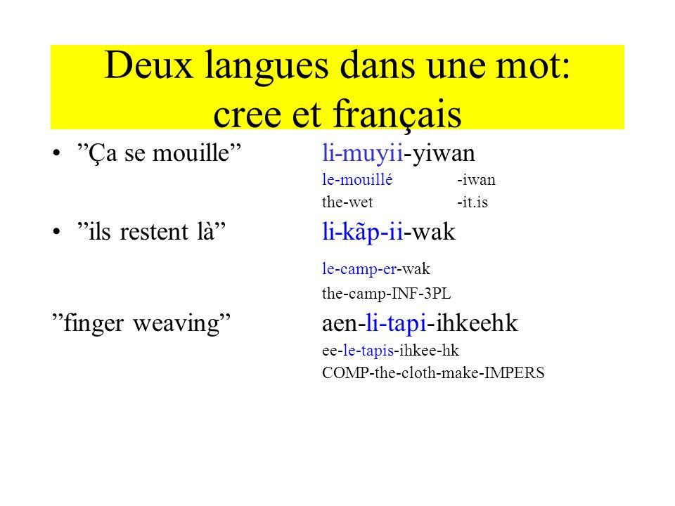 Deux langues dans une mot: cree et français