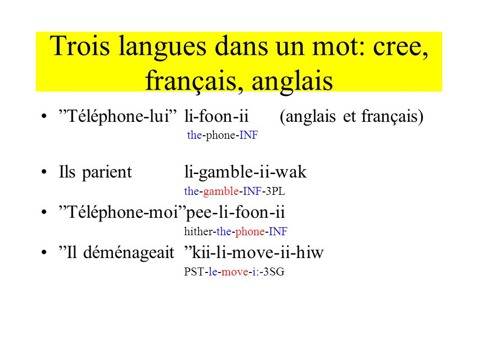 Trois langues dans un mot: cree, français, anglais
