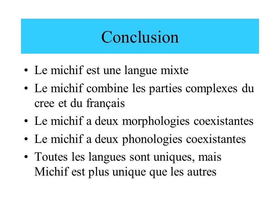 Conclusion Le michif est une langue mixte
