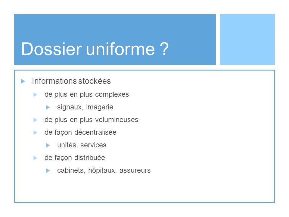 Dossier uniforme Informations stockées de plus en plus complexes