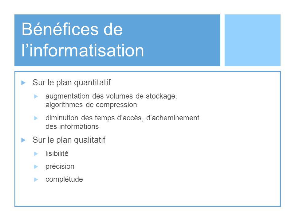Bénéfices de l'informatisation