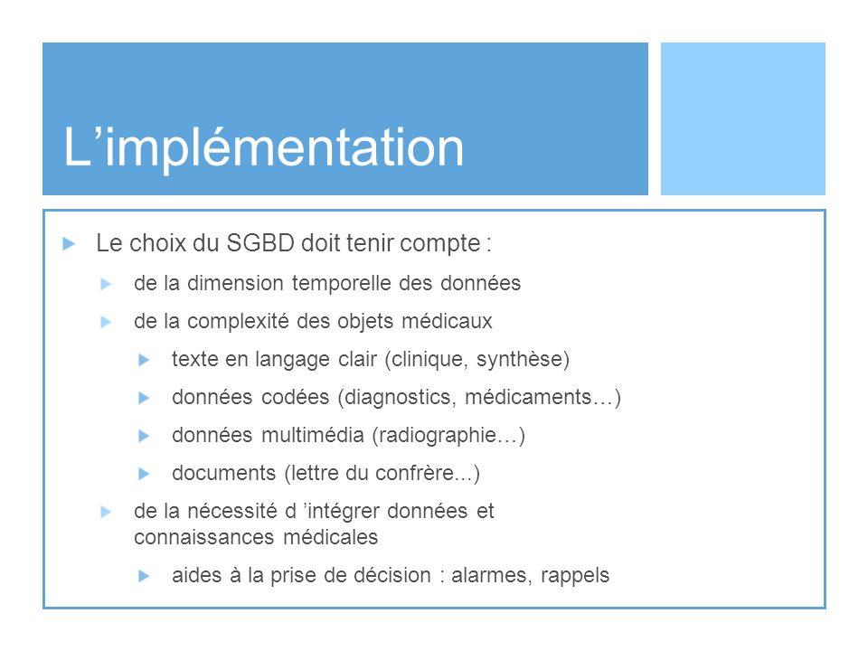 L'implémentation Le choix du SGBD doit tenir compte :