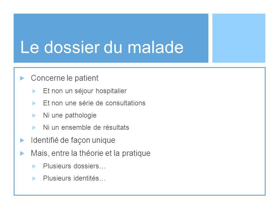 Le dossier du malade Concerne le patient Identifié de façon unique