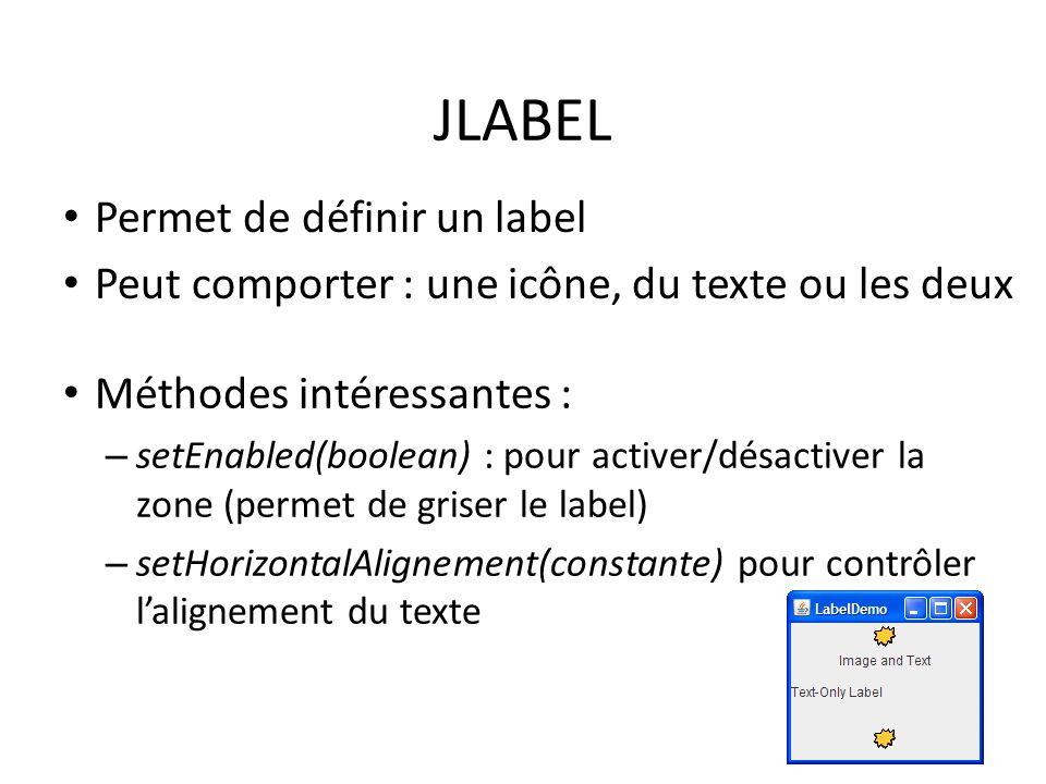 JLABEL Permet de définir un label
