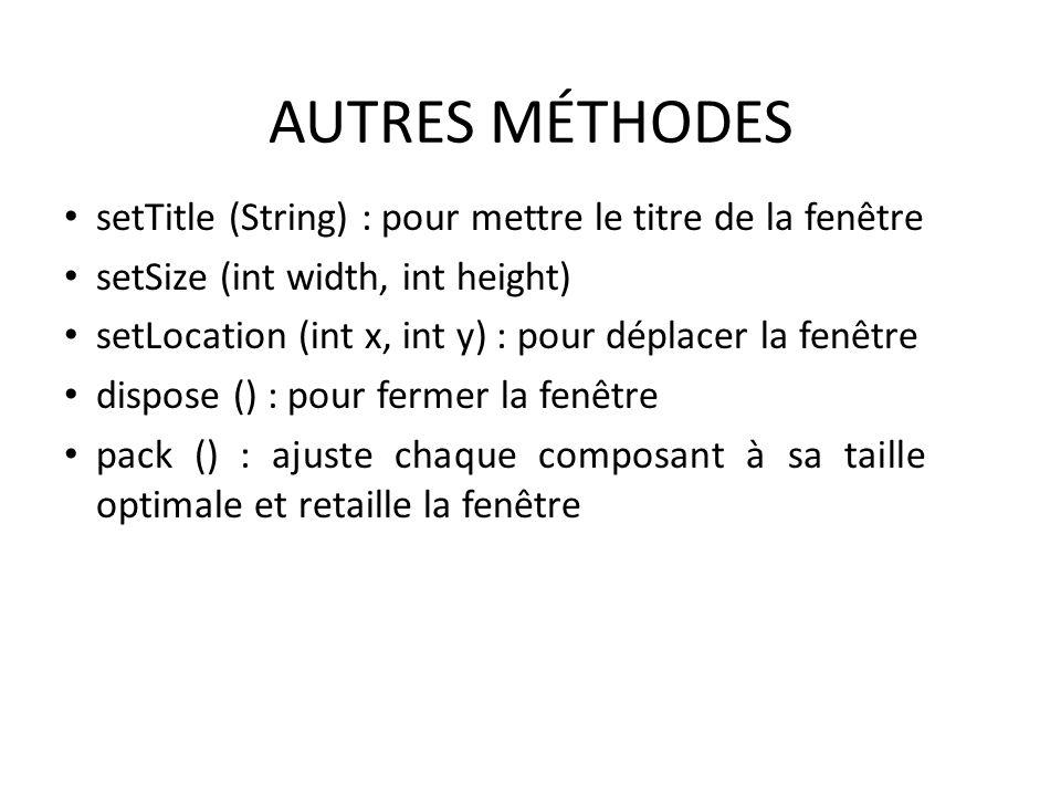 AUTRES MÉTHODES setTitle (String) : pour mettre le titre de la fenêtre