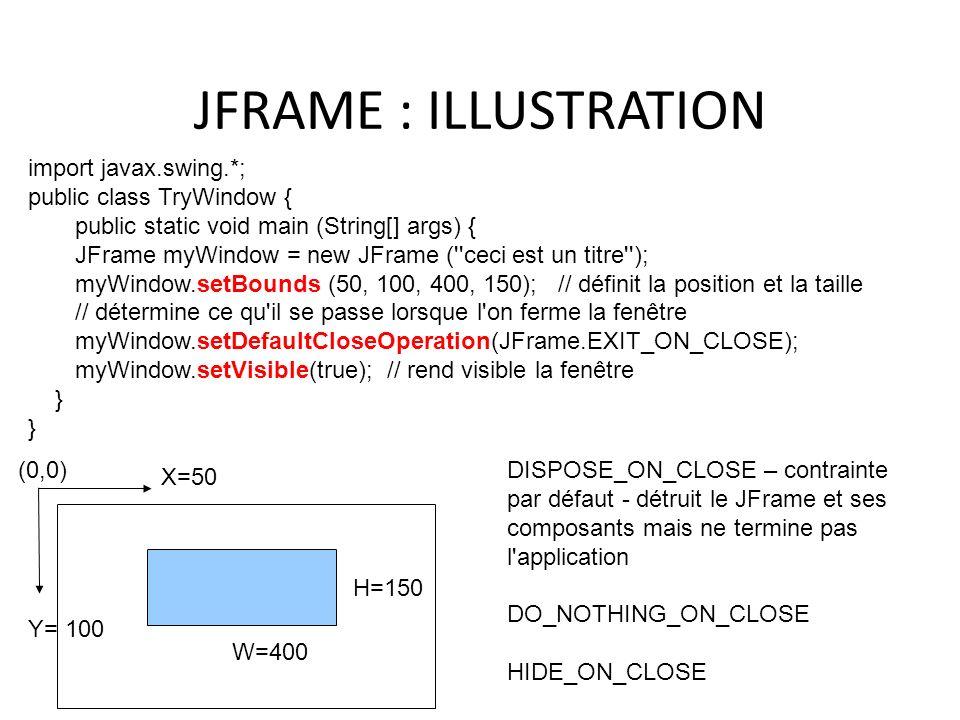 JFRAME : ILLUSTRATION import javax.swing.*; public class TryWindow {