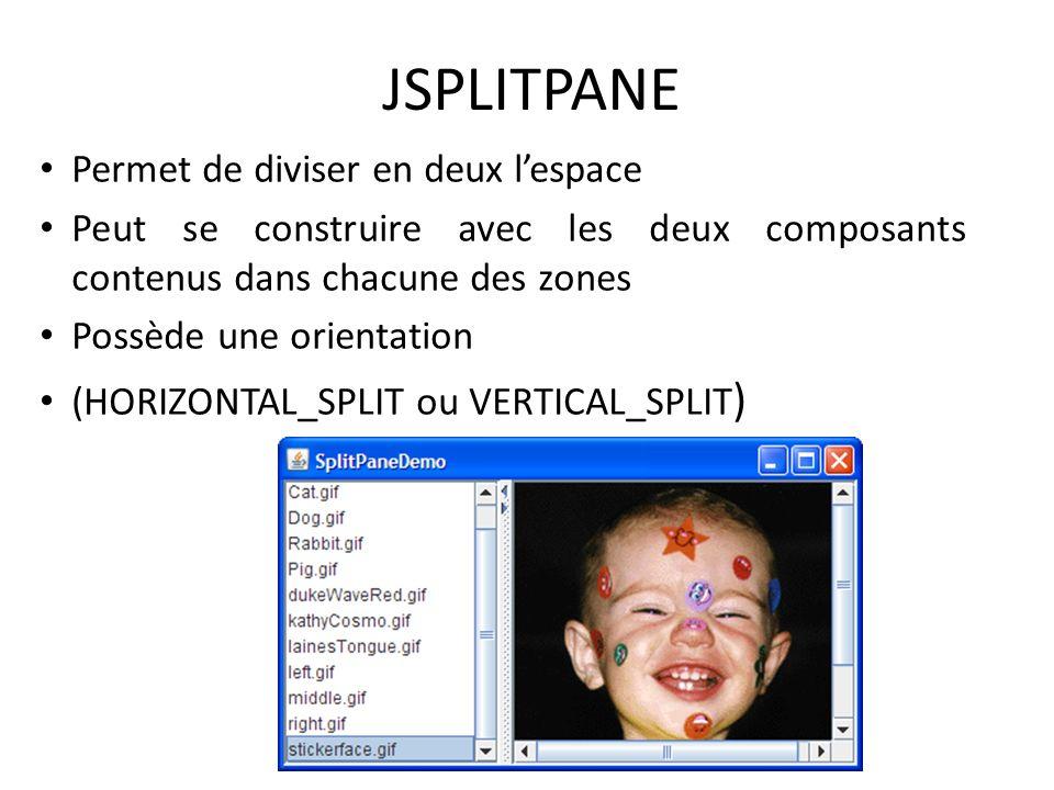 JSPLITPANE Permet de diviser en deux l'espace