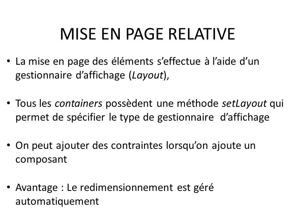 MISE EN PAGE RELATIVE La mise en page des éléments s'effectue à l'aide d'un gestionnaire d'affichage (Layout),
