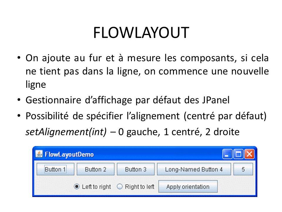 FLOWLAYOUT On ajoute au fur et à mesure les composants, si cela ne tient pas dans la ligne, on commence une nouvelle ligne.