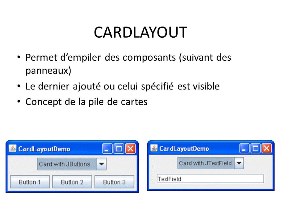 CARDLAYOUT Permet d'empiler des composants (suivant des panneaux)