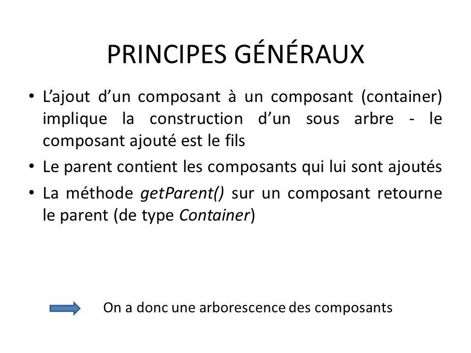 PRINCIPES GÉNÉRAUX L'ajout d'un composant à un composant (container) implique la construction d'un sous arbre - le composant ajouté est le fils.