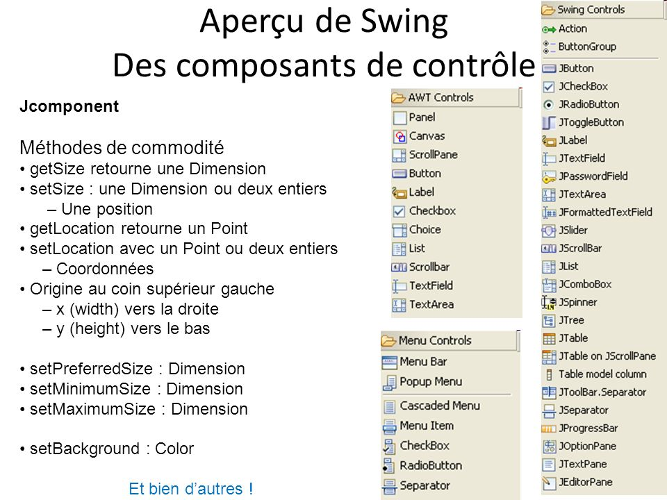 Aperçu de Swing Des composants de contrôle