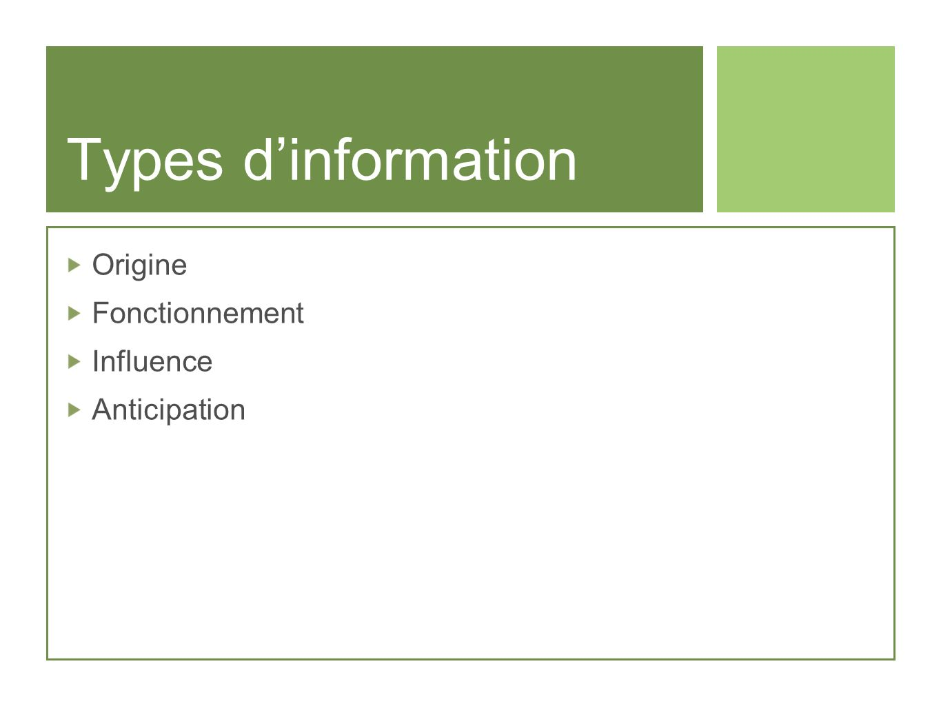 Types d'information Origine Fonctionnement Influence Anticipation