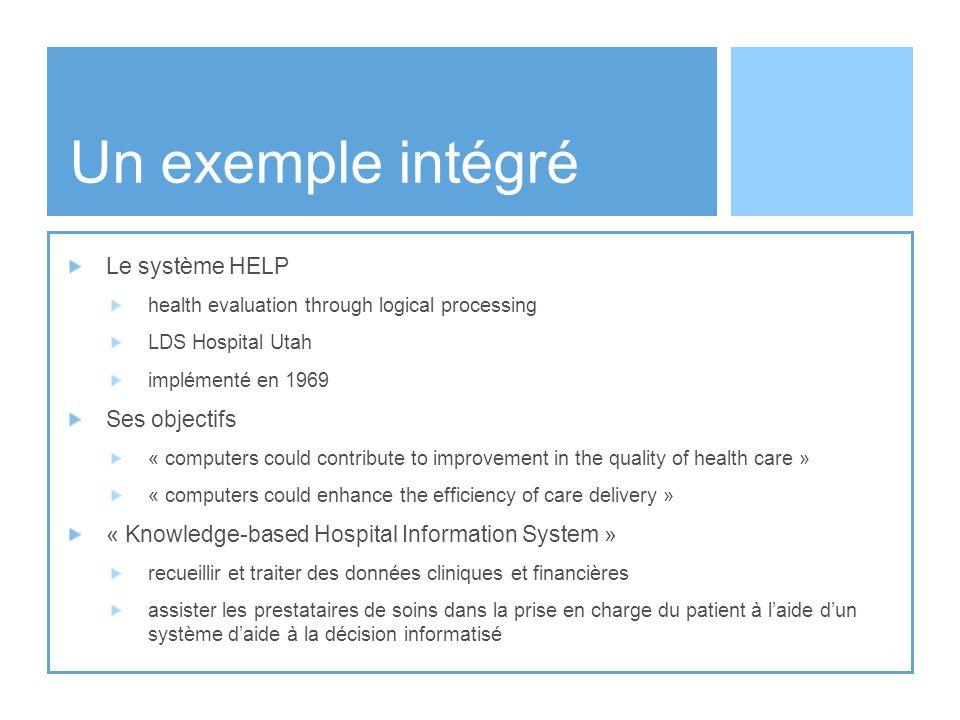 Un exemple intégré Le système HELP Ses objectifs