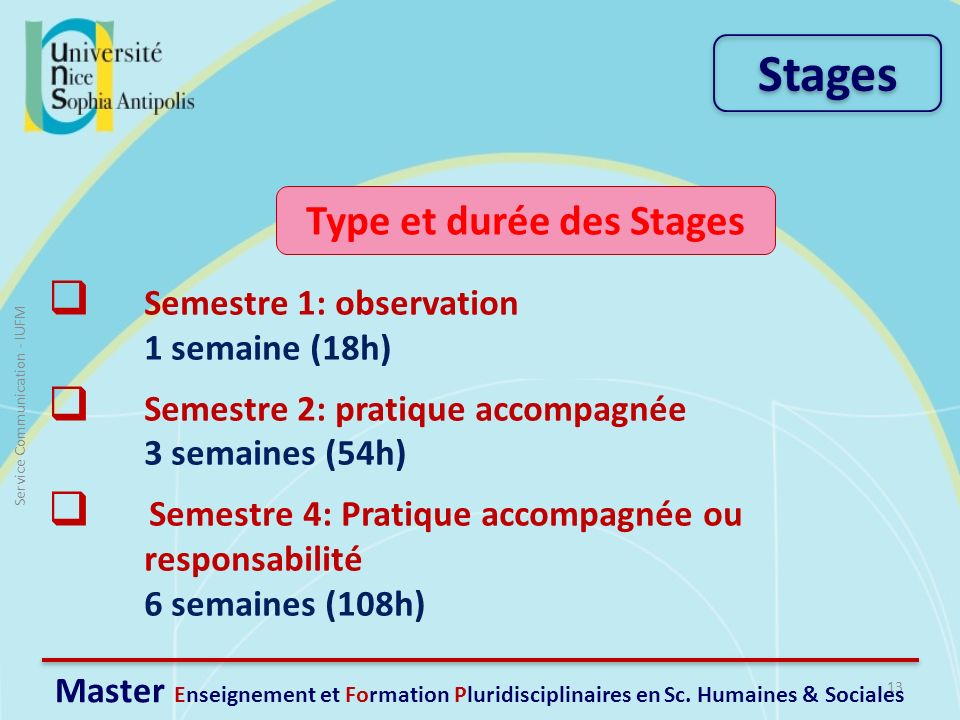 Type et durée des Stages