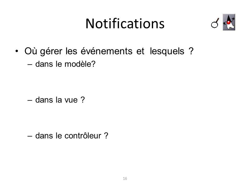Notifications Où gérer les événements et lesquels dans le modèle