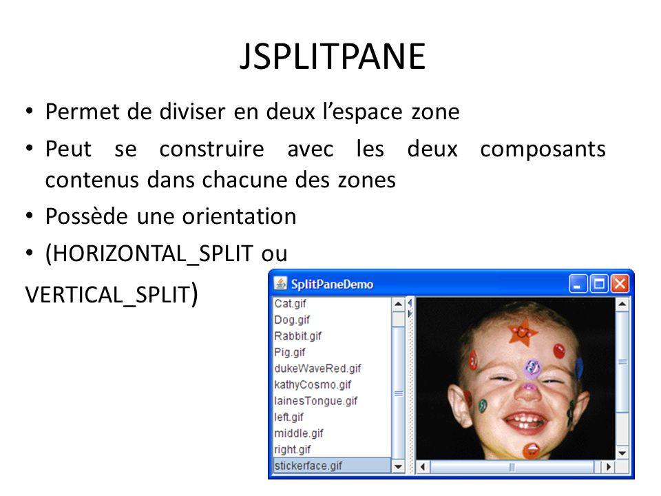 JSPLITPANE Permet de diviser en deux l'espace zone