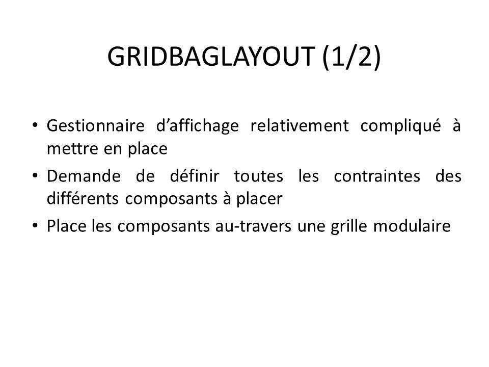 GRIDBAGLAYOUT (1/2) Gestionnaire d'affichage relativement compliqué à mettre en place.