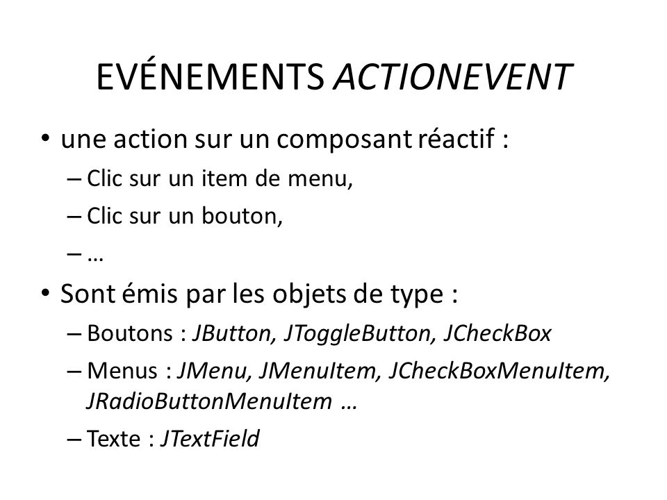 EVÉNEMENTS ACTIONEVENT