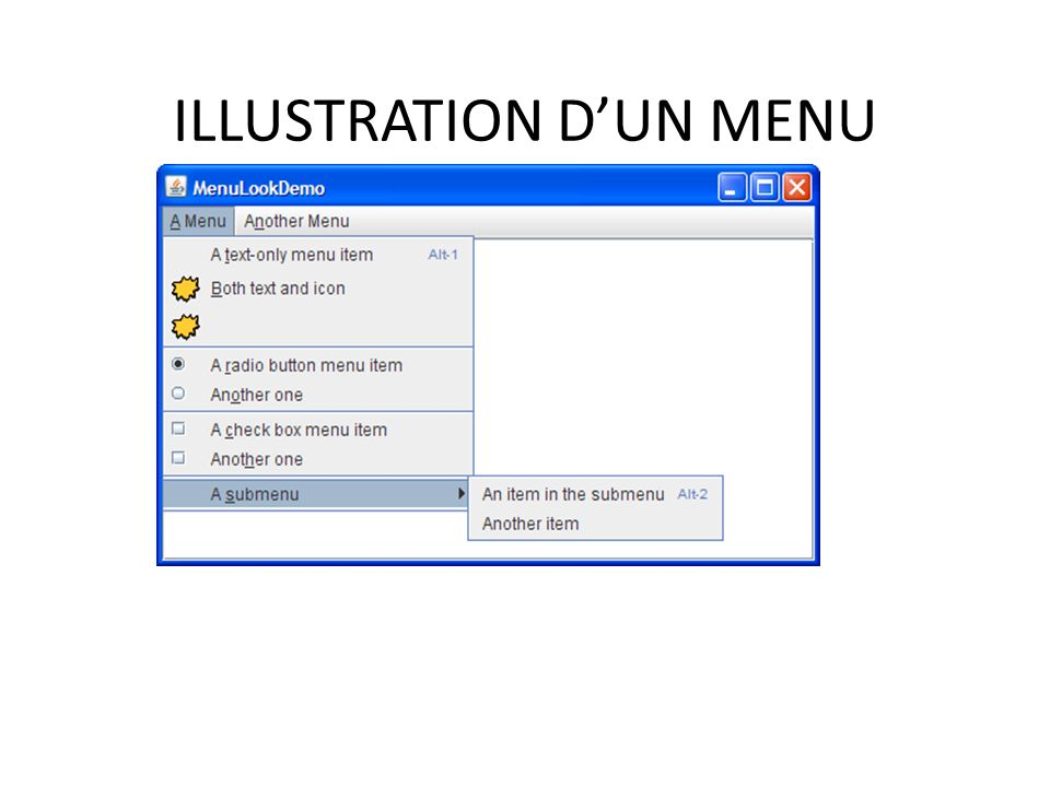 ILLUSTRATION D'UN MENU
