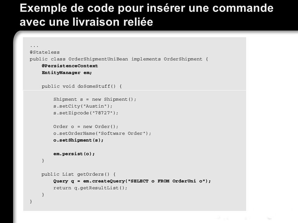 Exemple de code pour insérer une commande avec une livraison reliée