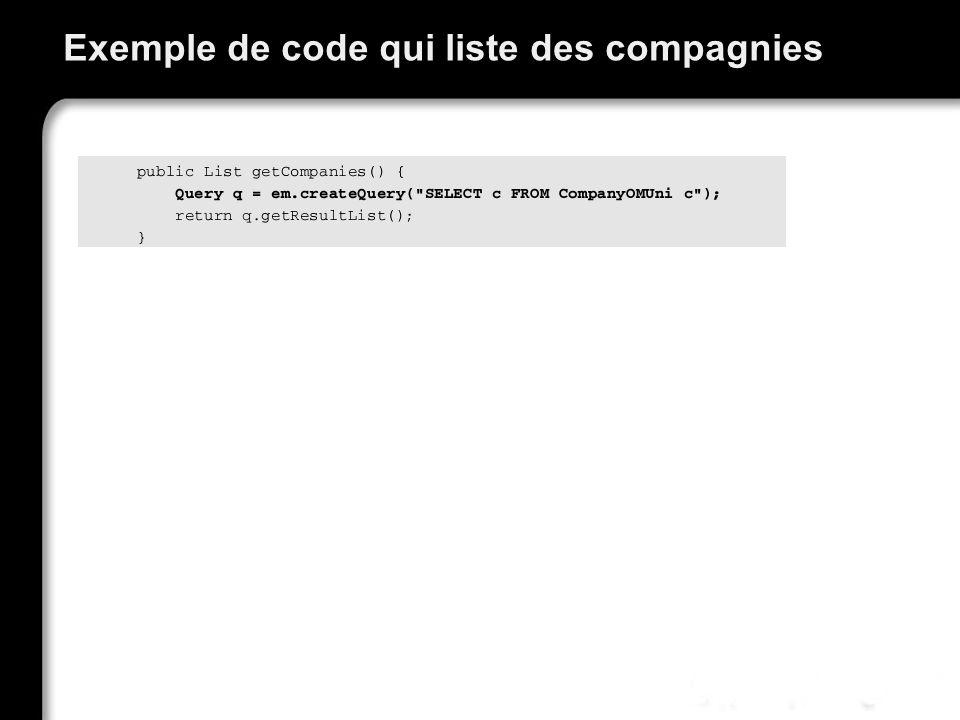 Exemple de code qui liste des compagnies