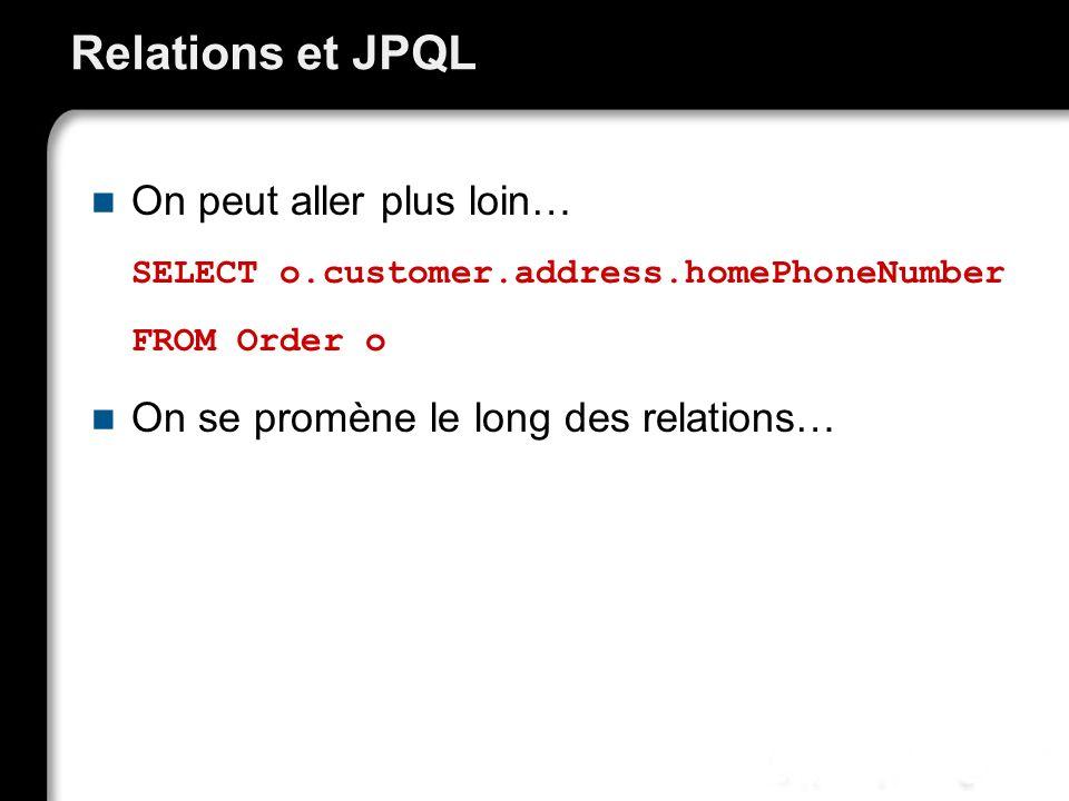 Relations et JPQL On peut aller plus loin…