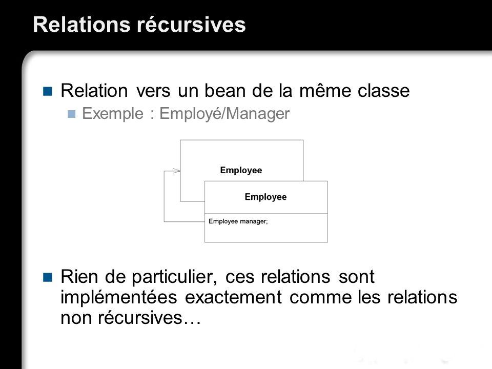 Relations récursives Relation vers un bean de la même classe
