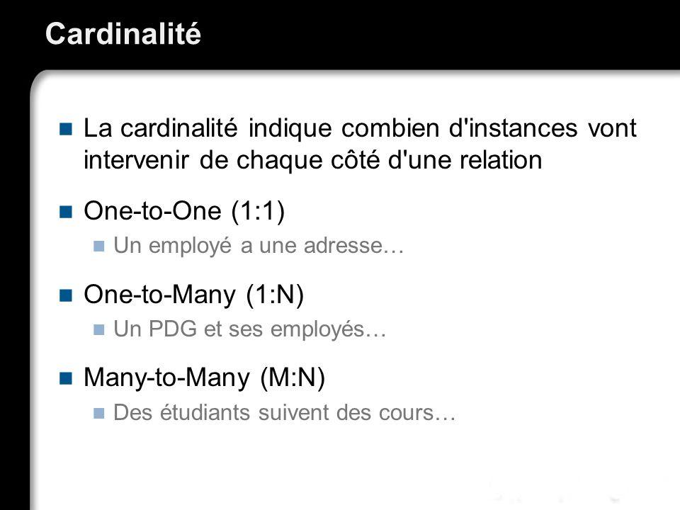Cardinalité La cardinalité indique combien d instances vont intervenir de chaque côté d une relation.