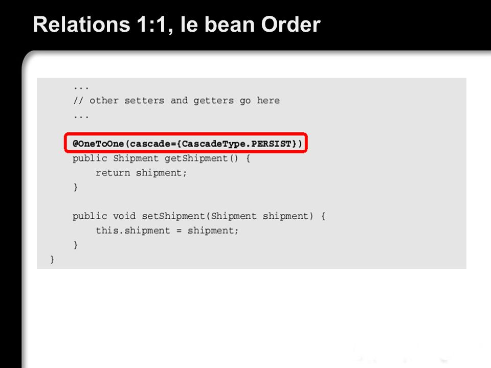 Relations 1:1, le bean Order