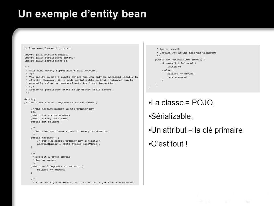 Un exemple d'entity bean