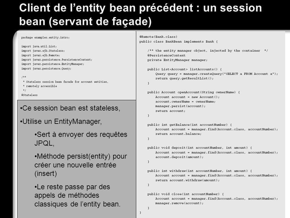 Client de l'entity bean précédent : un session bean (servant de façade)
