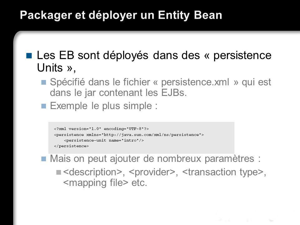 Packager et déployer un Entity Bean