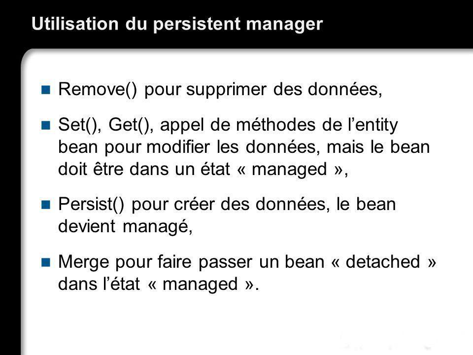 Utilisation du persistent manager