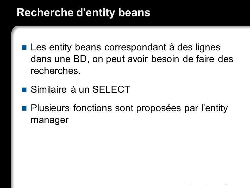 Recherche d entity beans