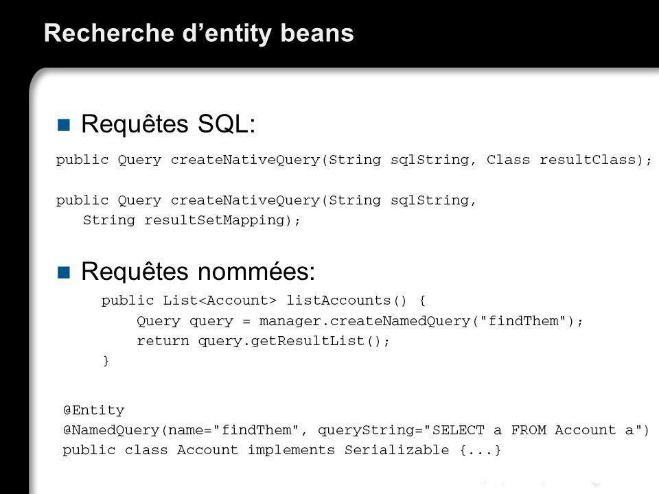 Recherche d'entity beans