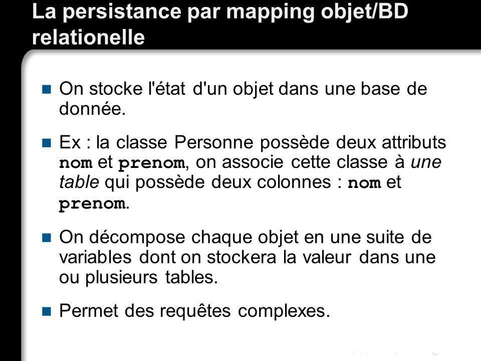 La persistance par mapping objet/BD relationelle
