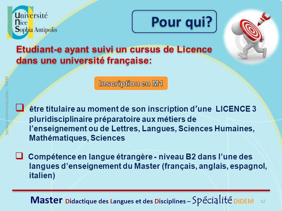 Master Didactique des Langues et des Disciplines – Spécialité DIDEM