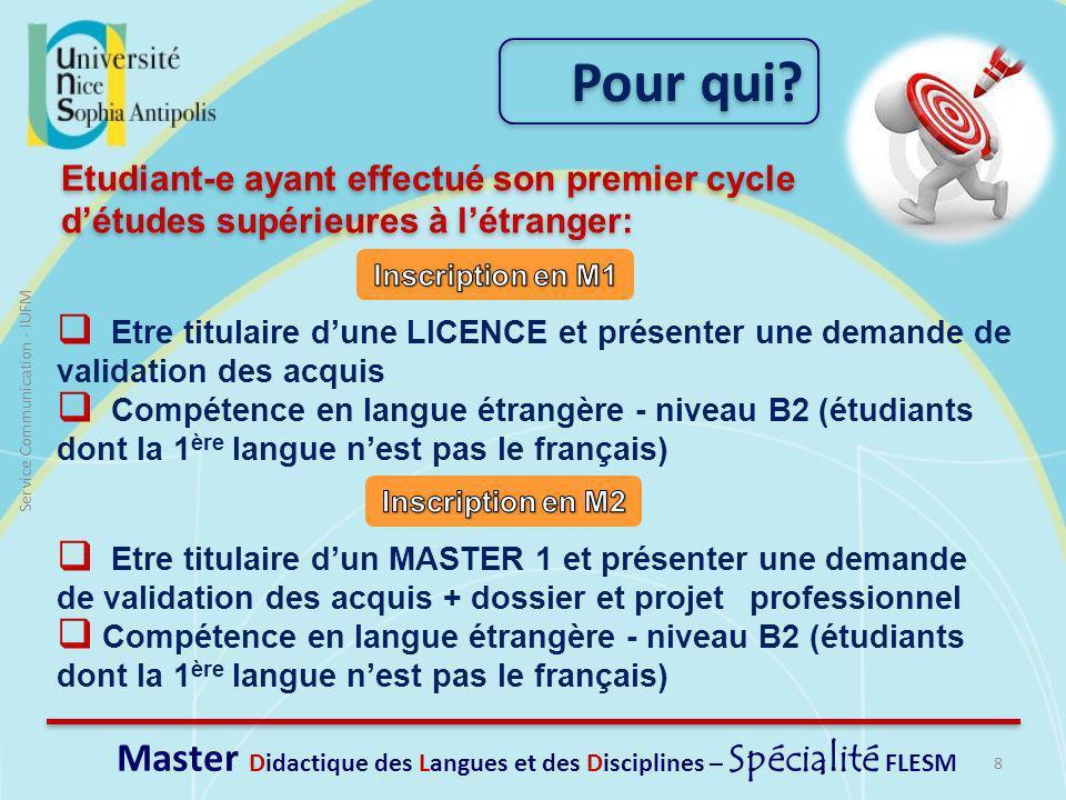 Master Didactique des Langues et des Disciplines – Spécialité FLESM