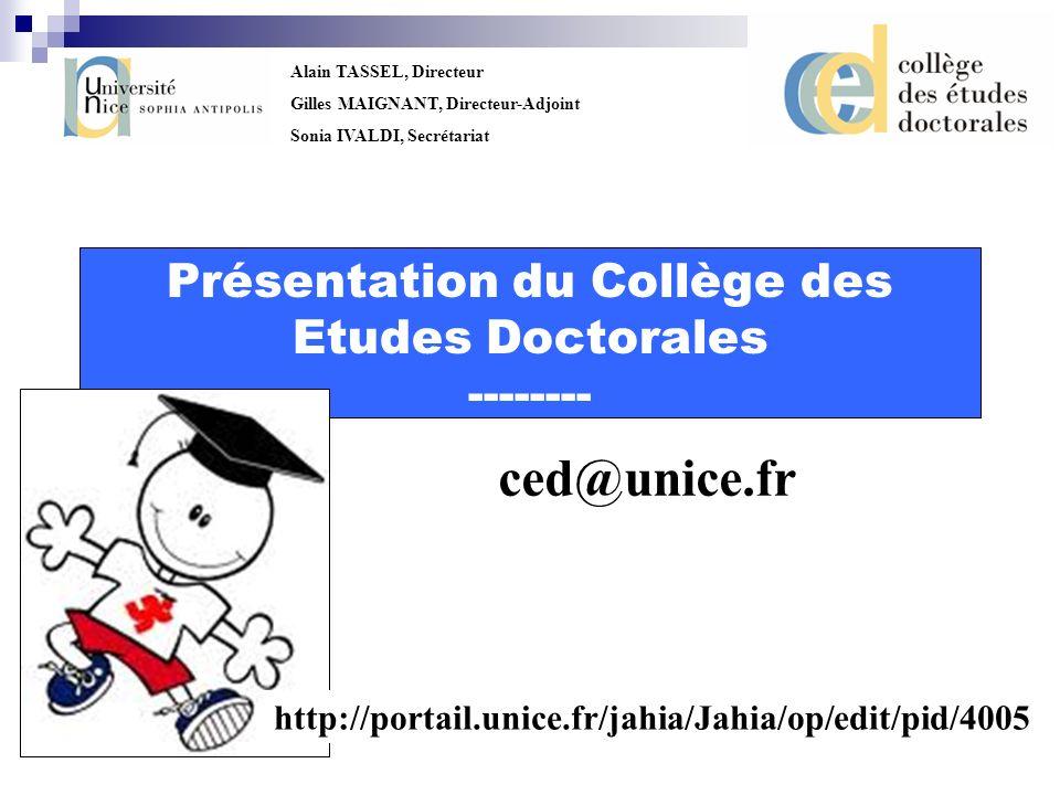 Présentation du Collège des Etudes Doctorales --------