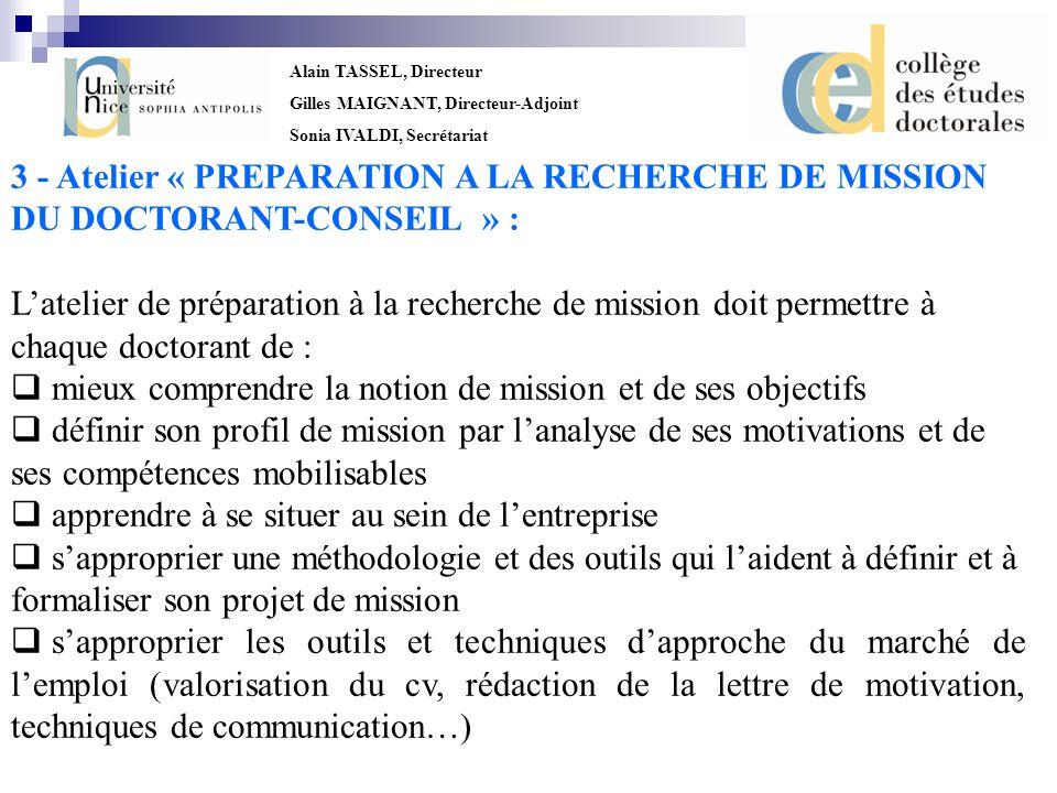3 - Atelier « PREPARATION A LA RECHERCHE DE MISSION
