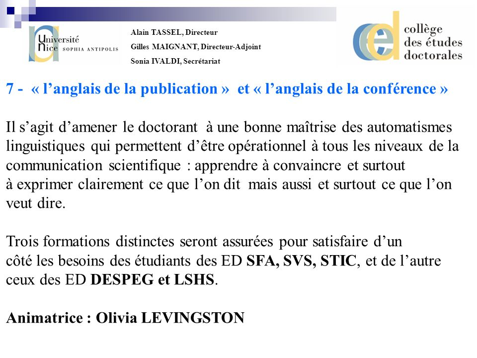 7 - « l'anglais de la publication » et « l'anglais de la conférence »