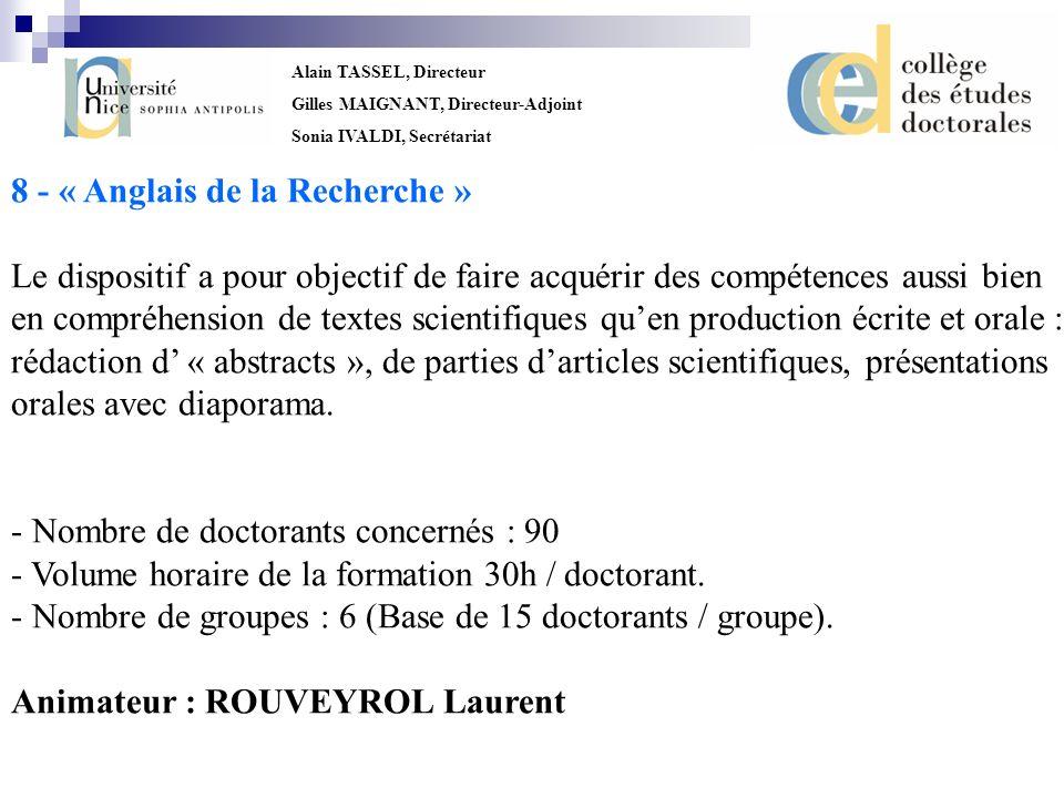 8 - « Anglais de la Recherche »