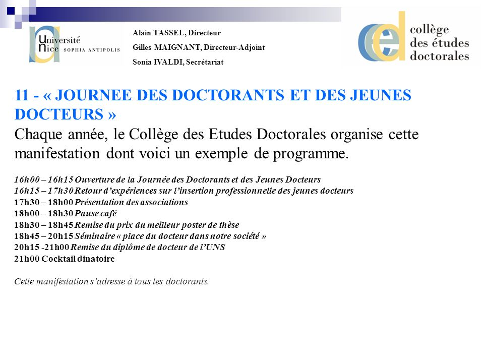 11 - « JOURNEE DES DOCTORANTS ET DES JEUNES DOCTEURS »