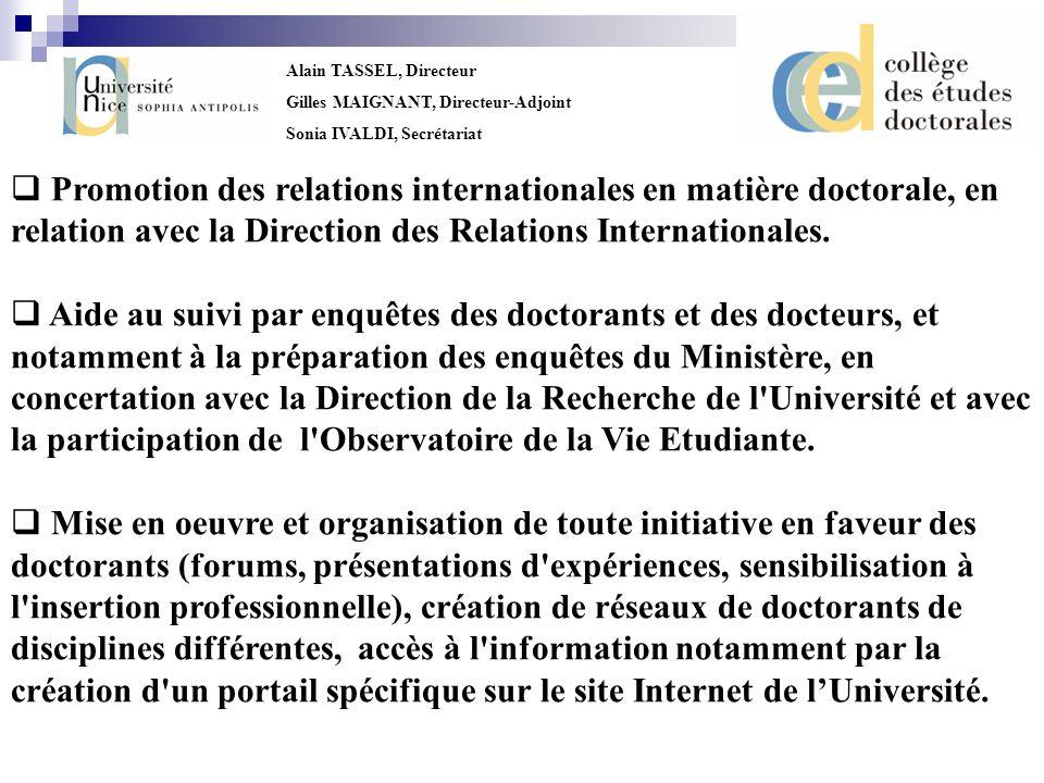 Promotion des relations internationales en matière doctorale, en