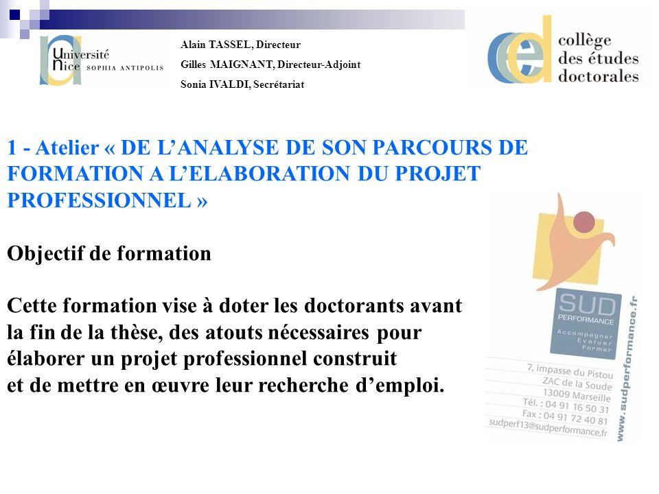 1 - Atelier « DE L'ANALYSE DE SON PARCOURS DE