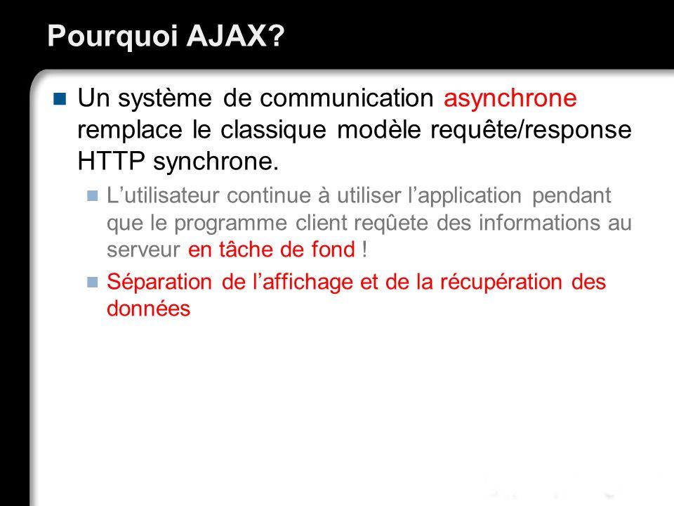Pourquoi AJAX Un système de communication asynchrone remplace le classique modèle requête/response HTTP synchrone.