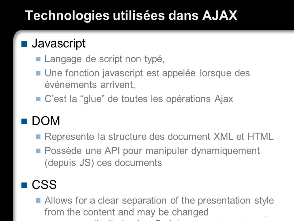 Technologies utilisées dans AJAX